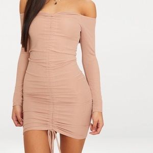 PLT Taupe Ribbed Long Sleeve Ruched Bodycon Dress
